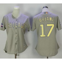 Women's Chicago Cubs #17 Kris Bryant Grey 2017 Gold Program Cool Base Stitched MLB Jersey