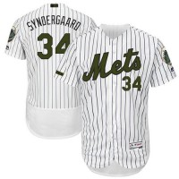 Men's New York Mets #34 Noah Syndergaard White(Blue Strip) Flexbase Authentic Collection Memorial Day Stitched MLB Jersey
