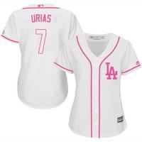 Women's Los Angeles Dodgers #7 Julio Urias White Pink Fashion Stitched MLB Jersey