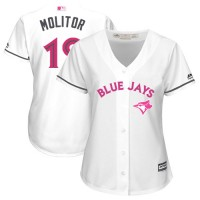 Women's Toronto Blue Jays #19 Paul Molitor White Mother's Day Cool Base Stitched MLB Jersey