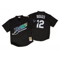 Mitchell And Ness 1998 Tampa Bay Rays #12 Wade Boggs Black Throwback Stitched MLB Jersey