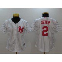 New York Yankees #2 Derek Jeter White Strip Mother's Day Cool Base Stitched MLB Jersey