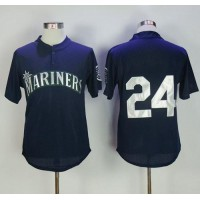 Mitchell And Ness 1995 Seattle Mariners #24 Ken Griffey Navy Blue Throwback Stitched MLB Jersey