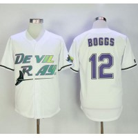 Mitchell And Ness Tampa Bay Rays #12 Wade Boggs White Throwback Stitched MLB Jersey