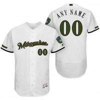 Milwaukee Brewers White Memorial Day Customized Flexbase Authentic Collection Stitched MLB Jersey