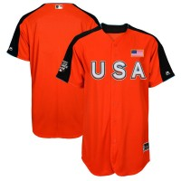 Men's Team USA Majestic Customized Orange 2017 MLB All-Star Futures Game Authentic On-Field Jersey