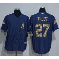 Angeles Angels Of Anaheim #27 Mike Trout Denim Blue Salute to Service Stitched Baseball Jersey