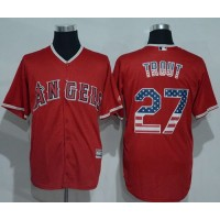 Angeles Angels Of Anaheim #27 Mike Trout Red USA Flag Fashion Stitched Baseball Jersey