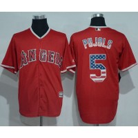 Angeles Angels Of Anaheim #5 Albert Pujols Red USA Flag Fashion Stitched Baseball Jersey