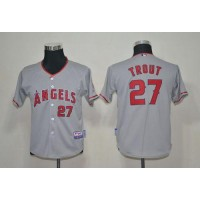 Angels #27 Mike Trout Grey Cool Base Stitched Youth Baseball Jersey