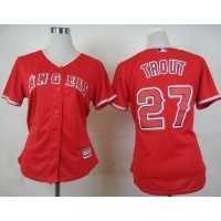 Angels #27 Mike Trout Red Alternate Women's Stitched Baseball Jersey