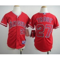 Angels #27 Mike Trout Red Cool Base Stitched Youth Baseball Jersey