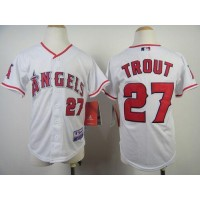Angels #27 Mike Trout White Cool Base Stitched Youth Baseball Jersey