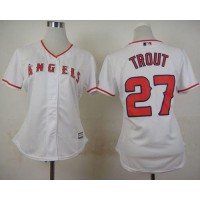 Angels #27 Mike Trout White Home Women's Stitched Baseball Jersey
