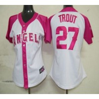 Angels #27 Mike Trout WhitePink Women's Splash Fashion Stitched Baseball Jersey