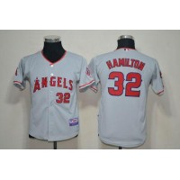 Angels #32 Josh Hamilton Grey Cool Base Stitched Youth Baseball Jersey