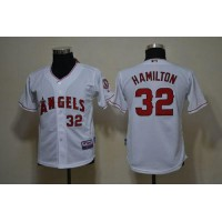 Angels #32 Josh Hamilton White Cool Base Stitched Youth Baseball Jersey