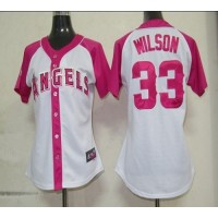 Angels #33 C.J. Wilson WhitePink Women's Splash Fashion Stitched Baseball Jersey