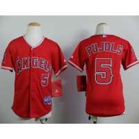 Angels #5 Albert Pujols Red Stitched Youth Baseball Jersey