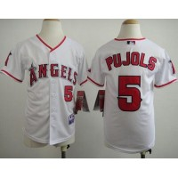 Angels #5 Albert Pujols White Stitched Youth Baseball Jersey