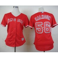 Angels #56 Kole Calhoun Red Alternate Women's Stitched Baseball Jersey