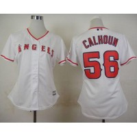 Angels #56 Kole Calhoun White Home Women's Stitched Baseball Jersey