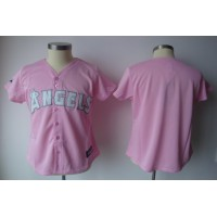 Angels Blank Pink Women's Fashion Stitched Baseball Jersey