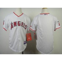 Angels Blank White Cool Base Stitched Youth Baseball Jersey