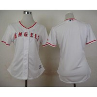 Angels Blank White Women's Fashion Stitched Baseball Jersey