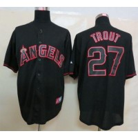 Angels of Anaheim #27 Mike Trout Black Fashion Stitched Baseball Jersey