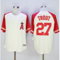 Angels of Anaheim #27 Mike Trout CreamRed Exclusive New Cool Base Stitched Baseball Jersey