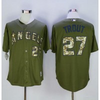 Angels of Anaheim #27 Mike Trout Green Camo New Cool Base Stitched Baseball Jersey
