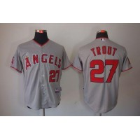 Angels of Anaheim #27 Mike Trout Grey Cool Base Stitched Baseball Jersey