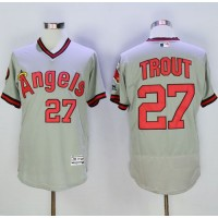 Angels of Anaheim #27 Mike Trout Grey Flexbase Authentic Collection Cooperstown Stitched Baseball Jersey