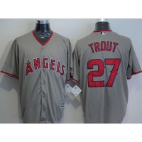 Angels of Anaheim #27 Mike Trout Grey New Cool Base Stitched Baseball Jersey