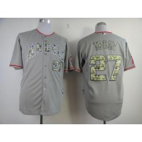 Angels of Anaheim #27 Mike Trout Grey USMC Cool Base Stitched Baseball Jersey