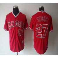 Angels of Anaheim #27 Mike Trout Red Cool Base Stitched Baseball Jersey