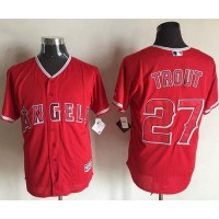Angels of Anaheim #27 Mike Trout Red New Cool Base Stitched Baseball Jersey