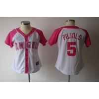 Angels of Anaheim #5 Albert Pujols WhitePink Women's Splash Fashion Stitched Baseball Jersey
