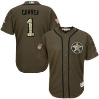 Astros #1 Carlos Correa Green Salute to Service Stitched Baseball Jersey