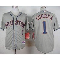 Astros #1 Carlos Correa Grey Cool Base Stitched Baseball Jersey