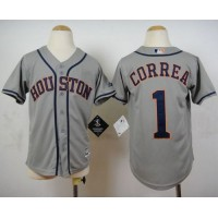 Astros #1 Carlos Correa Grey Cool Base Stitched Youth Baseball Jersey