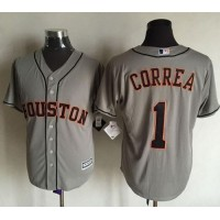 Astros #1 Carlos Correa Grey New Cool Base Stitched Baseball Jersey