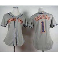 Astros #1 Carlos Correa Grey Road Women's Stitched Baseball Jersey