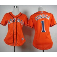 Astros #1 Carlos Correa Orange Alternate Women's Stitched Baseball Jersey