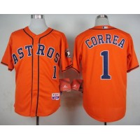 Astros #1 Carlos Correa Orange Cool Base Stitched Baseball Jersey