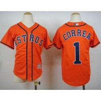 Astros #1 Carlos Correa Orange Cool Base Stitched Youth Baseball Jersey