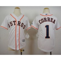 Astros #1 Carlos Correa White Cool Base Stitched Youth Baseball Jersey