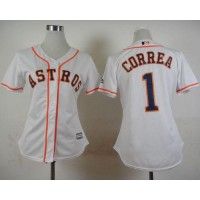 Astros #1 Carlos Correa White Home Women's Stitched Baseball Jersey