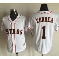 Astros #1 Carlos Correa White New Cool Base Stitched Baseball Jersey